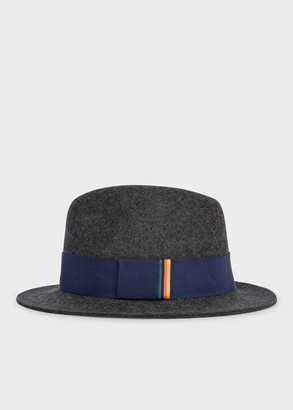 Paul Smith Men's Dark Grey Wool Trilby Hat