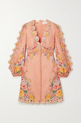 Zimmermann Zinnia Floral-print Linen And Cotton-blend Mini Dress - Pink