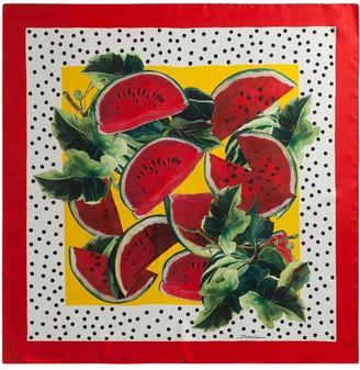 Dolce & Gabbana Watermelon-Print Silk Scarf