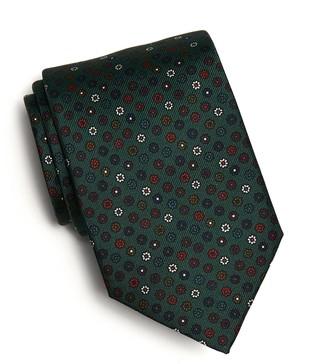 Drakes Silk Flower Foulard Tie in Olive