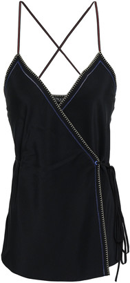 Rag & Bone Lina Embroidered Silk-charmeuse Wrap Camisole