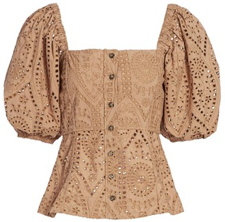 Ganni Broderie Anglaise Puff-Sleeve Top