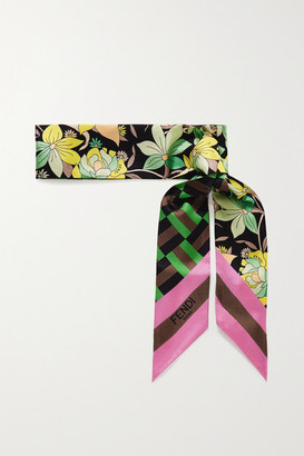 Fendi Wrappy Printed Silk-twill Scarf - Brown