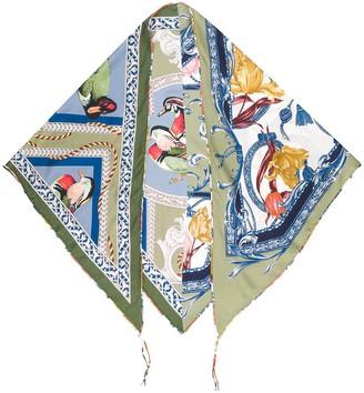 Salvatore Ferragamo Bird Print Silk Scarf