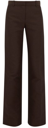 The Row Terrance Straight-leg Crepe Tailored Trousers - Dark Brown