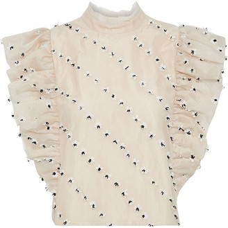 Ganni Rosenfeld Cropped Foral-appliqued Ruffled Mesh Blouse