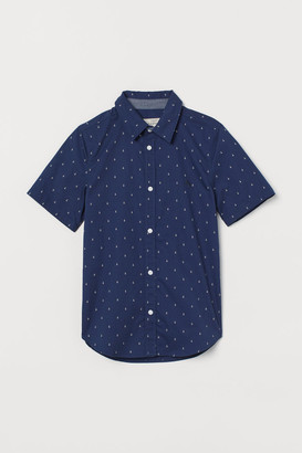 H&M Short-sleeved Cotton Shirt - Blue