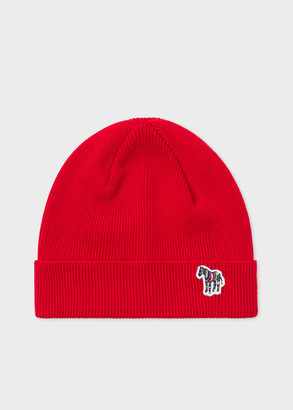 Paul Smith Men's Red 'Zebra' Logo Ribbed Lambswool Beanie Hat