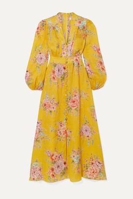 Zimmermann Zinnia Floral-print Linen Midi Dress - Marigold