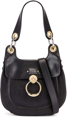 Chloé Small Tess Leather Hobo Bag in Black | FWRD