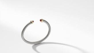 David Yurman Cable Kids Birthstone Bracelet With Garnet And 14K