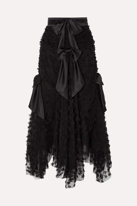 Rodarte Bow-detailed Appliqued Tulle Maxi Skirt - Black
