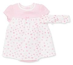 Little Me Girls' Cotton Hearts Bodysuit Dress & Headband Set - Baby