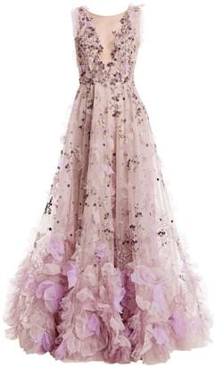Marchesa Illusion V-Neck 3D Applique Gown