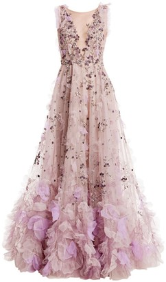 Marchesa Illusion V-Neck 3D Applique Gown