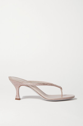 Rene Caovilla Crystal-embellished Satin And Leather Sandals - Neutral