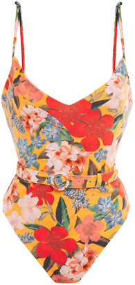 Nicholas Belted Printed Swimsuit