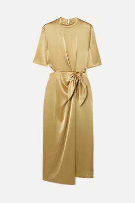 Nanushka Saffron Cutout Metallic Satin Midi Dress - Gold