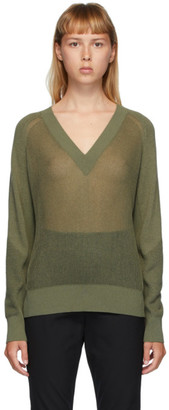 Rag & Bone Green Adaya V-Neck Sweater