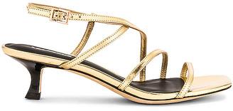Lola Cruz Saturn Mirror Kitten Heel Sandals