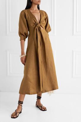 Nicholas Asilah Tie-front Linen Midi Dress - Brown
