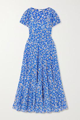 Rixo Tamara Tiered Floral-print Cotton-blend Maxi Dress - Blue