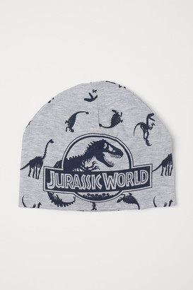 H&M Jersey Hat with Printed Design - Gray
