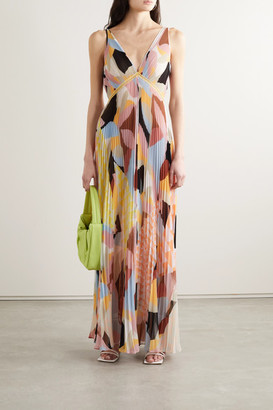 Self-Portrait Crochet-trimmed Pleated Printed Crepe De Chine Maxi Dress - Pink