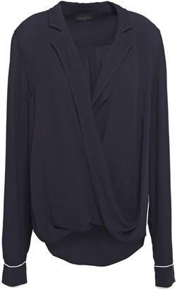 Rag & Bone Dean Wrap-effect Draped Washed-twill Shirt