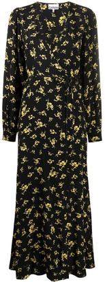 Ganni Maxi Floral Print Wrap Dress