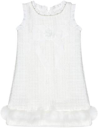 MonnaLisa Feather-trimmed tweed dress
