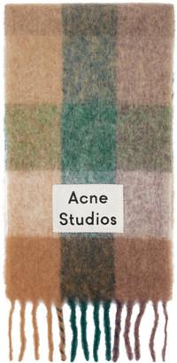 Acne Studios Blue and Purple Multi Check Scarf