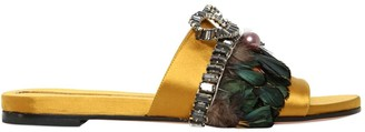 Rochas 10MM EMBELLISHED SATIN SLIDE SANDALS