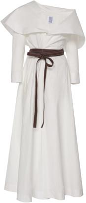 Rosie Assoulin October Belted Cape-Effect Cotton-Poplin Maxi Dress