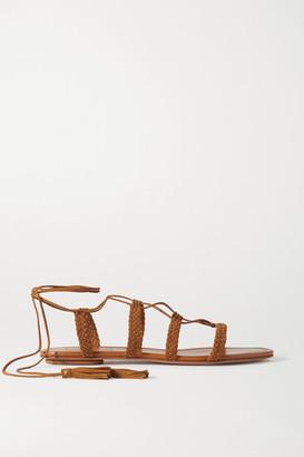 Aquazzura Stromboli Braided Suede Sandals - Tan