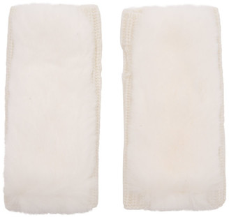 Yves Salomon White Rex Rabbit Fur and Cashmere Gloves