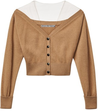 Alexander Wang Wool Off The Shoulder Cardigan Neutral