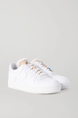 Nike Air Force 1 Gel Crystal-embellished Leather And Mesh Sneakers - White