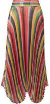 alice-olivia-alice-olivia-katz-pleated-metallic-silk-blend-lame-skirt-red