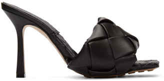 Bottega Veneta Black Intrecciato Lido Heeled Sandals