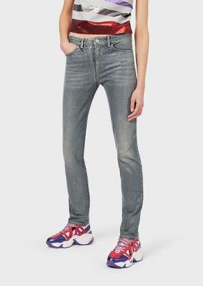 Emporio Armani Super Skinny J18 Jeans With All-Over Metallic Polka Dots