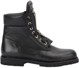 Balmain Black Leather Combat Boots