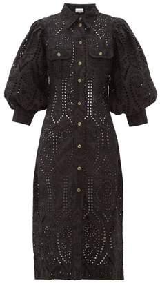 Ganni Balloon-sleeve Broderie-anglaise Cotton Shirtdress - Womens - Black