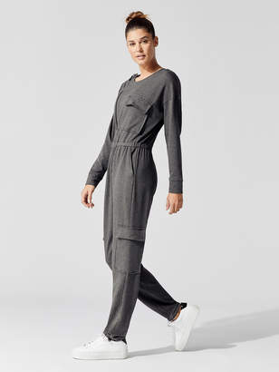 Carbon38 Fleece Asymmetrical Zip Jumpsuit