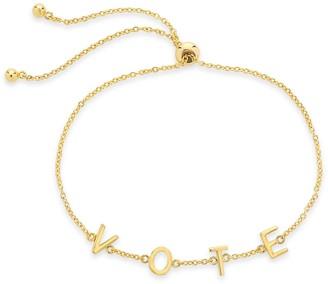 Sterling Forever 14K Gold Plated Vote Bolo Bracelet