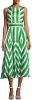 lela-rose-high-neck-sleeveless-organza-striped-jacquard-long-dress