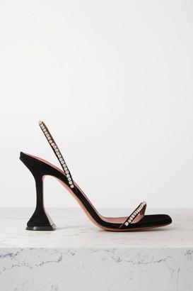 Amina Muaddi Jade Crystal-embellished Suede Slingback Sandals - Black