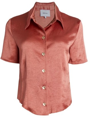 Nanushka Satin Short-Sleeve Blouse