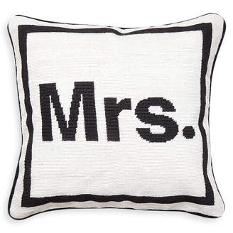"Jonathan Adler Mrs."" Needlepoint Throw Pillow"