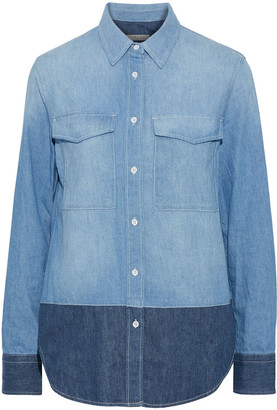 Rag & Bone Birdie Two-tone Cotton-chambray Shirt